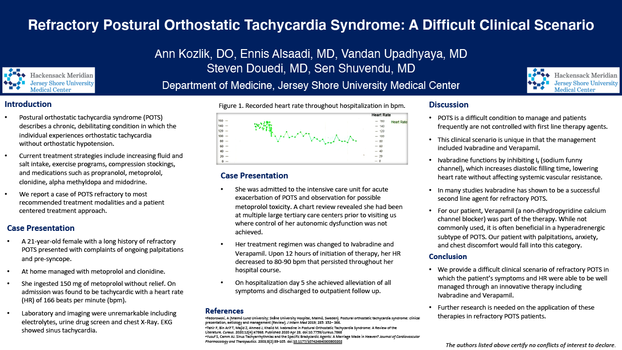 32.CV.133. Refractory Postural Orthostatic Tachycardia Syndrome