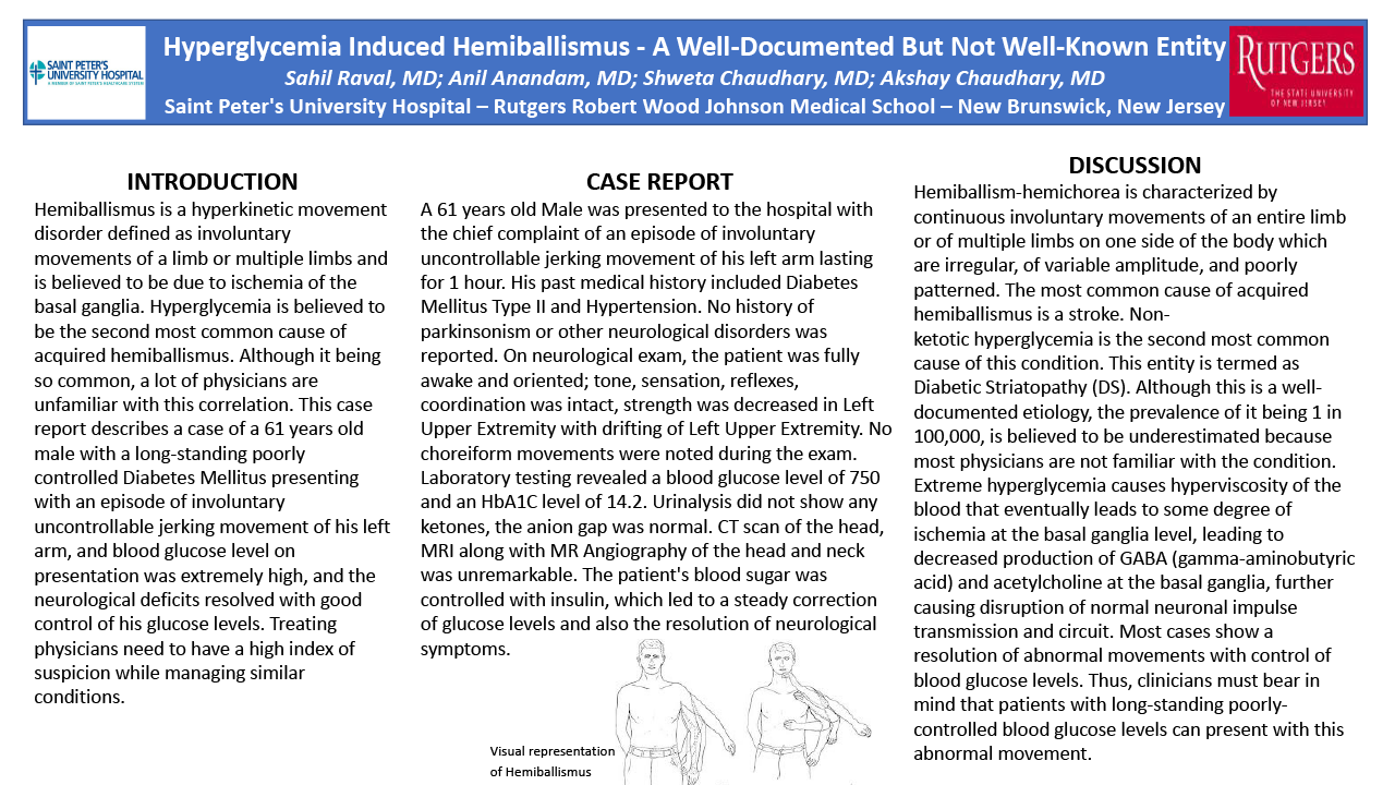 33-CV-137-Hyperglycemia Induced Hemiballismus - A Well-Documented But Not Well-Known Entity
